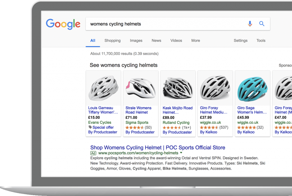 Google Shopping screenshot with cycling helmets